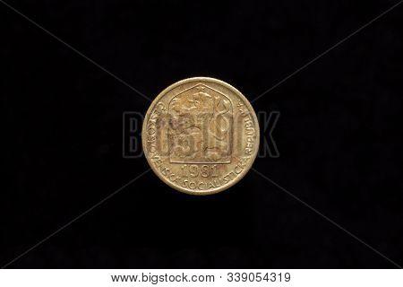 Czechoslovak Socialist Republic Old 20 Haleru, 20h Coin From 1981, Obverse Showing The Socialist Coa