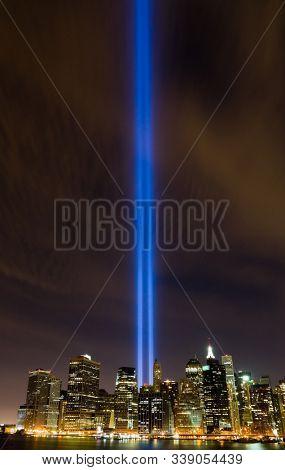 NEW YORK CITY - SEPTEMBER 11: Tribute in Light on September 11, 2010 in New York City. The lights been displayed annually in remembrance of September 11, 2011 attacks.