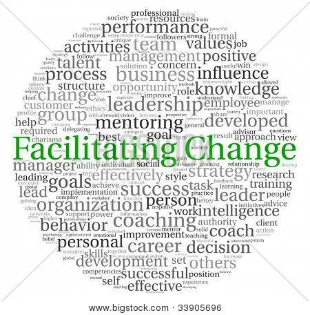 Facilitando o conceito de mudança na nuvem de Tags palavra sobre fundo branco