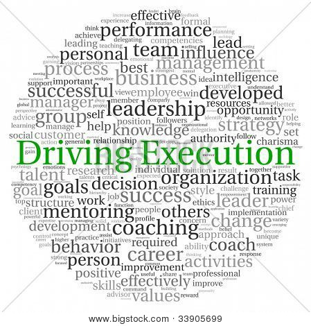 Driving Execution concept in word tag cloud on white background