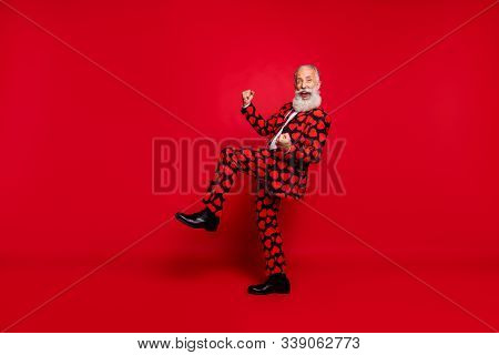 Full Length Body Size View Of Nice Attractive Crazy Ecstatic Funky Cheerful Lucky White-haired Man C