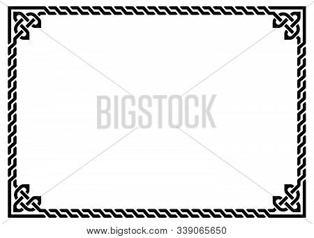 Celtic Vector Frame Or Border Pattern With Decorative Corners - Rectangle 5x7in, Irish Knots, Braide