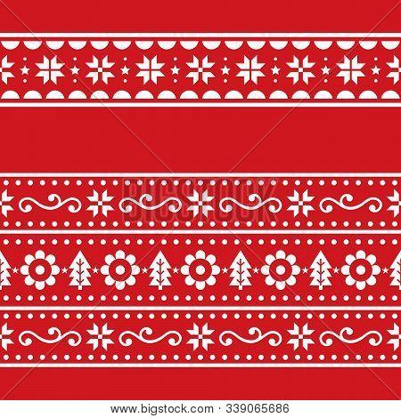 Christmas Scandinavain Folk Art Vector Repetitive Seamless Pattern Set, Nordic Festive Two Repetitiv