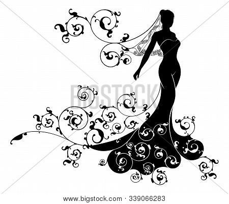 A Bride Silhouette Wedding Design With The Bride In Bridal Dress Gown And Veil With An Abstract Flor