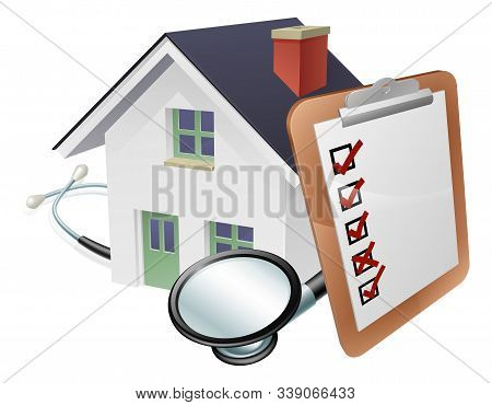 House Stethoscope And Survey Clipboard Concept Concept Of A House With A Giant Clipboard Or Survey L