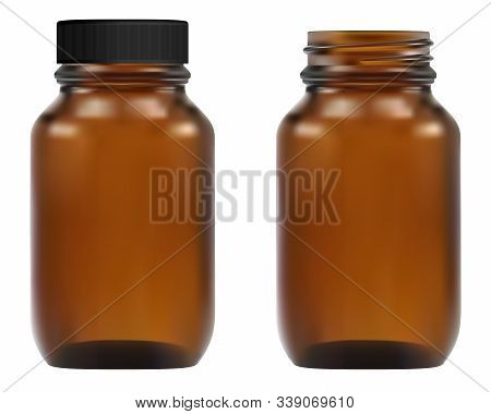 Brown Glass Medical Bottle. Apothecary Container Illustration. Pharmacy Pill Amber Vial 3d Template