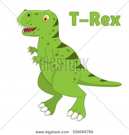 Dinosaur T-rex Drawning In Cartoon Style. Vector Illustration Isolated On White Background. Prehisto