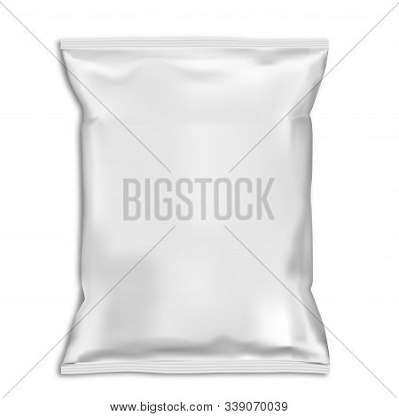 Snack Bag Pillow Pouch Mock Up. White Food Pack Blank. Foil Sachet Vector Template Isolated On Backa