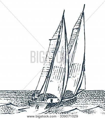 Seascape With A Sailboat. Nautical Ship At Sea. Engraved Illustration Of A Hand Drawn Sketch In Vint