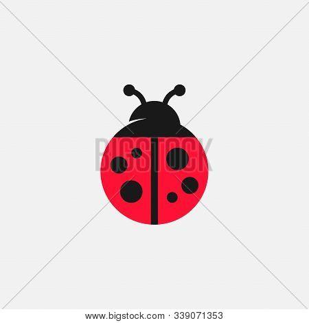 Lady Bug Vector Icon, Lady Bug Logo Design, Cute Icon, Simple Icon, Tiny Logo Icon, Red Lady Bug Sig