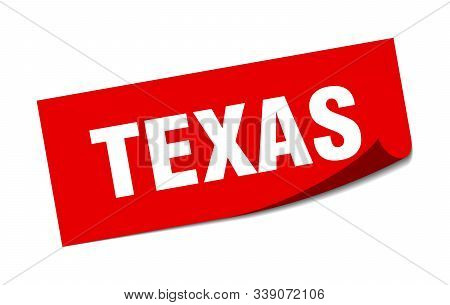 Texas Sticker. Texas Red Square Peeler Sign