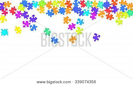 Abstract Brainteaser Jigsaw Puzzle Rainbow Colors Pieces Vector Background. Group Of Puzzle Pieces I