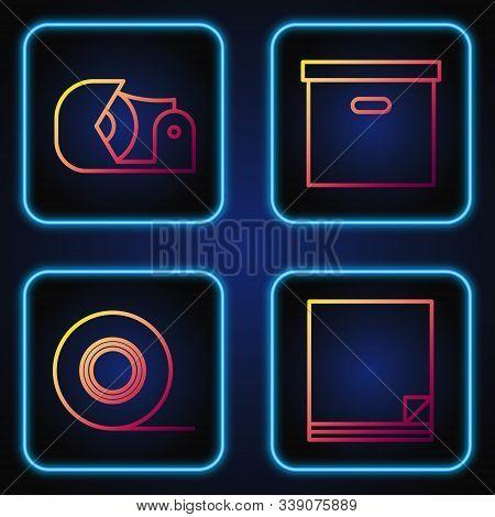 Set Line File Document, Scotch, Scotch And Carton Cardboard Box. Gradient Color Icons. Vector