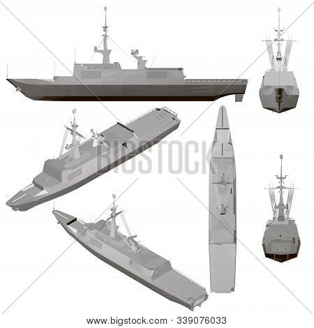 Set With A Warship Isolated On A White Background. Ship With Weapons From Different Positions. 3d. V