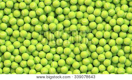 Huge Amount Of Greed Tennis Balls Lying In A Pile