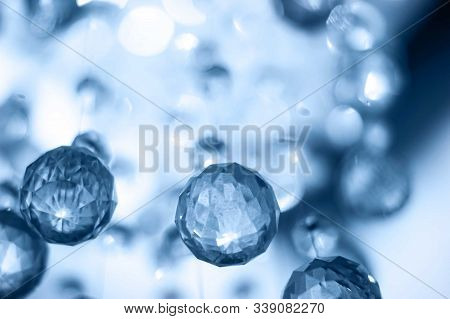 Blue Cristal Balls Hanging. Festive Background. Color Of The Year 2020 Concept.