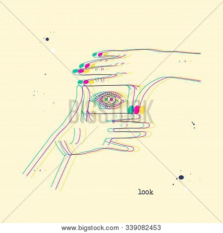 Eye In Framing Hands. Stereoscopic Vector Hand Gesture Showing Rectangular Frame. Conceptual Backgro
