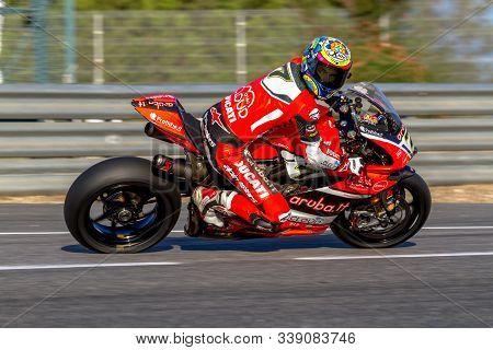 Jerez De La Frontera, Spain - Oct 16: Ducati Panigale R Of Aruba.it Racing-ducati Sbk Team, Driven B