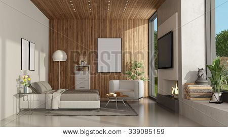 White And Wooden Master Bedroom Of A Modern Villa With Fireplace And Tv On Concrete Wall - 3d Render