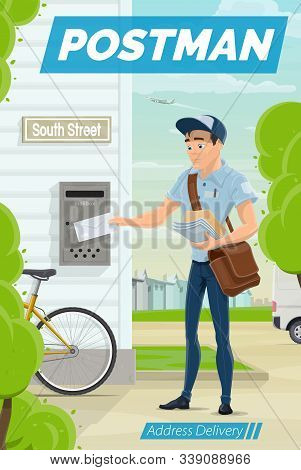 Postman Puts Letter Into Mail Box, Address Delivery. Vector Mailman Outdoors, Post Office Workers De