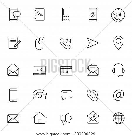 Contact Us Outline Vector Icons Large Set Isolated On White Background. Business Communication Conce