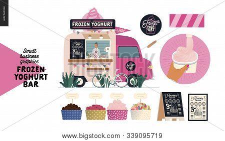 Frozen Yoghurt Bar - Small Business Graphics - Food Truck -modern Flat Vector Concept Illustration O