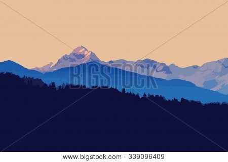 Beautiful Twilight Landscape With Alpine Peaks In Background And Fir Forest Silhouette In Foreground