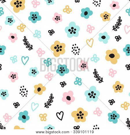 Cute Seamless Pattern With Primitive Naive Art Flowers In Scandinavian Minimal Style