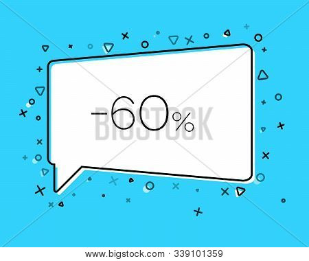 Geometric Sale Banner With Inscription Sixty Percent Discount On Blue Background. Template For Speec