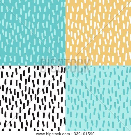 Cute Set Of Childish Scandinavian Collection Seamless Pattern Background With Hand Drawn Textures