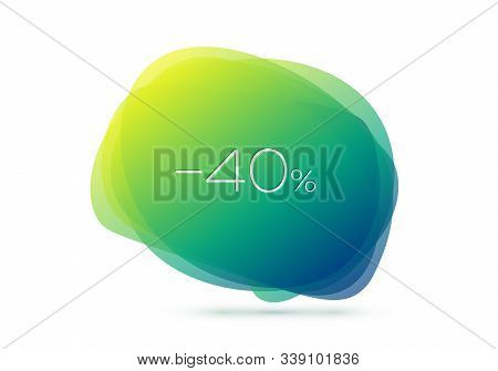 Geometric Sale Banner With Inscription Forty Percent Discount On White Background. Gradient Abstract