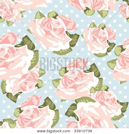 Beautiful Seamless rose pattern with blue polka dot background, vector illustration