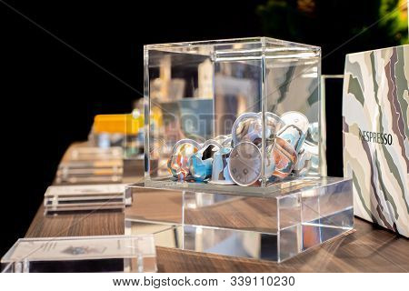 Moscow, Russia - December 01, 2019: Collection Of New Scandinavian Flavors Of Nespresso Transparent
