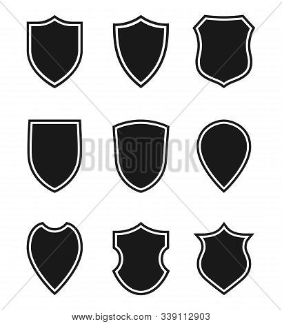 Shields Graphic Icons Set. Blank Heraldic Shields Signs Isolated On White Background. Web Protection