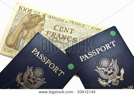 French Currency With Passports