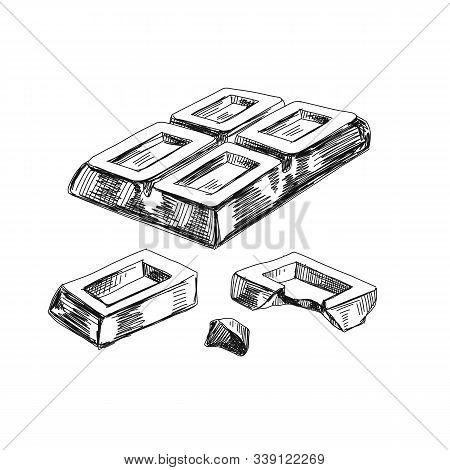 Broken Chunks Of Chocolate Hand Drawn Vector Illustration