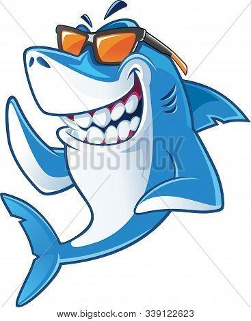 Smiling Cartoon Masculine Big Shark Mascot With Big Teeth