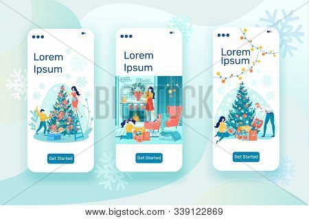 Family With Children Joint Christmas Holidays Chores. Winter Festive Xmas And New Year Spirit With P