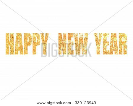 Happy New Year Card 2020 With A Gradation Of Gold And Sparkling Light Against A Background Of Firewo