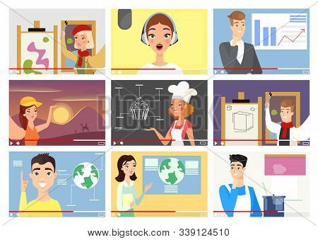 Bloggers Flat Vector Illustrations Set. Influencers, Vloggers Cartoon Characters. Finance Expert, An