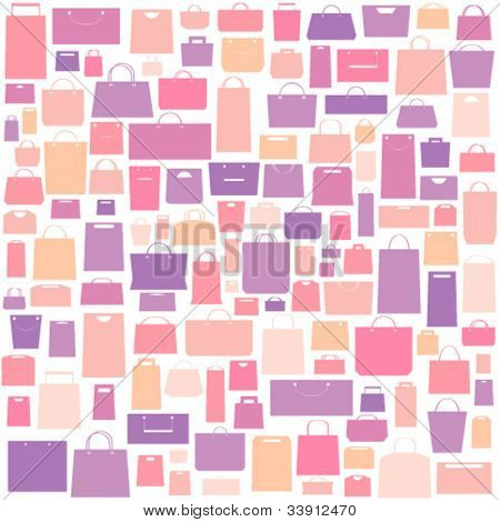 Sale background with shopping bags pattern.