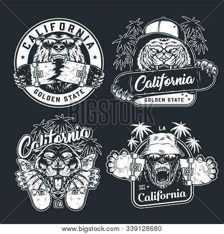 Vintage Monochrome Skateboarding Logos With Palm Trees Inscriptions Aggressive Ferocious Animals Hea