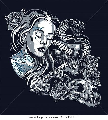 Vintage Chicano Style Tattoo Concept With Pretty Girl Snake Entwined With Skull Beautiful Roses Dice