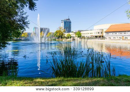 Cityview With Lake In Suhl In Germany