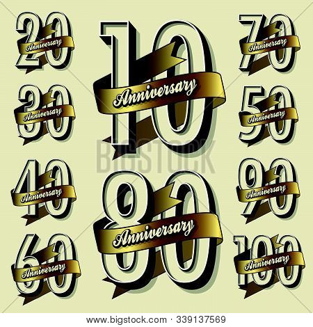 Anniversary Sign Collection And Cards Design In Elegant Style. Template  Of Anniversary, Jubilee Or