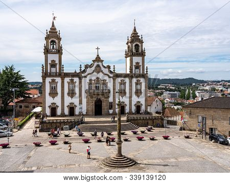 Viseu, Portugal - 19 August 2019: Main Square In The Old Town Of Viseu With The Misericordia Church