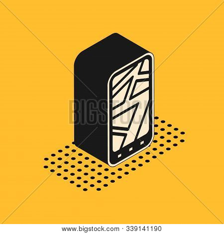Isometric Infographic Of City Map Navigation Icon Isolated On Yellow Background. Mobile App Interfac