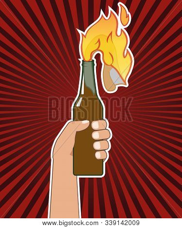 Hand Holding A Bottle With Molotov Cocktail. Vector Illustration. Isolated.
