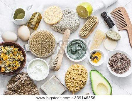 Face, Body Skin Care Homemade Ingredients - Cosmetic Clay, Brushes, Homemade Soap, Coffee Scrub, Avo