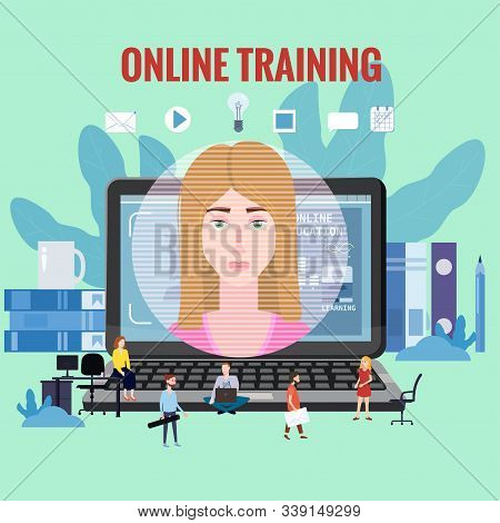 Online Training Coaching, Education, Workshops And Courses. E-learning Page Students Studying, With